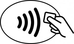 Contactloos betalen symbool op automaat